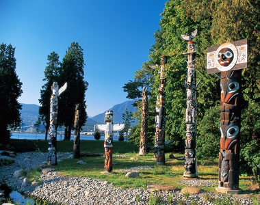 Totem poles in Stanley Park, BC, Canada