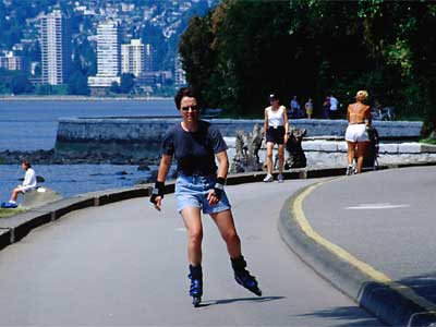 Roller blading in Stanley Park, BC, Vancouver